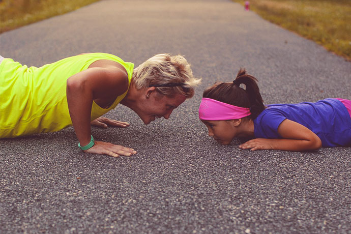 Movember - Get active for men's health - Mother and child push-ups