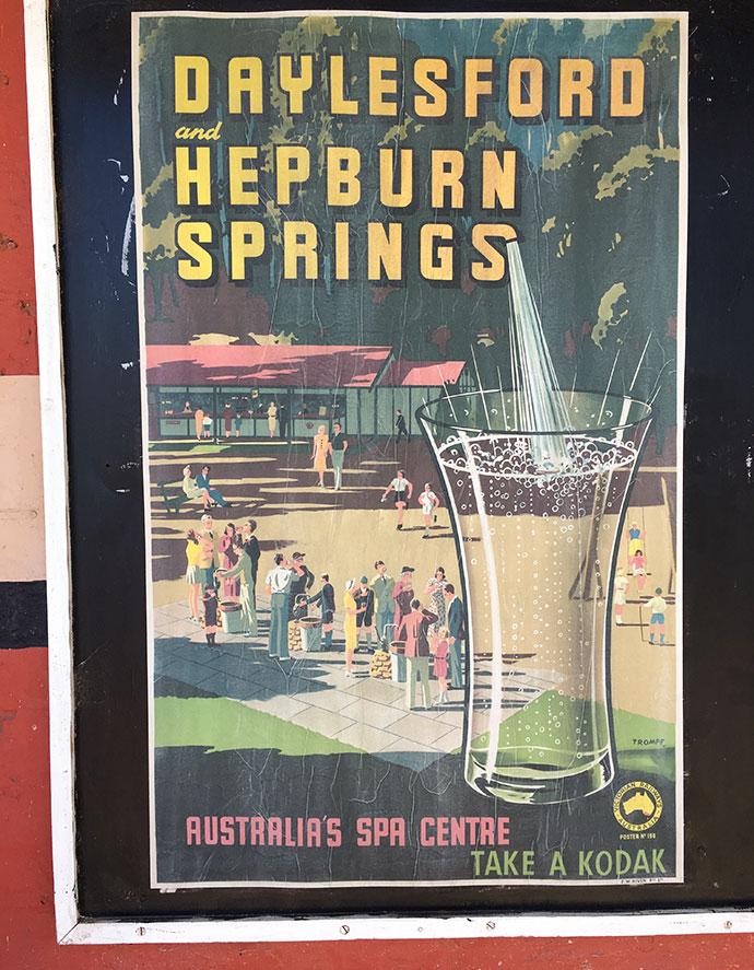 Hepburn springs vintage poster