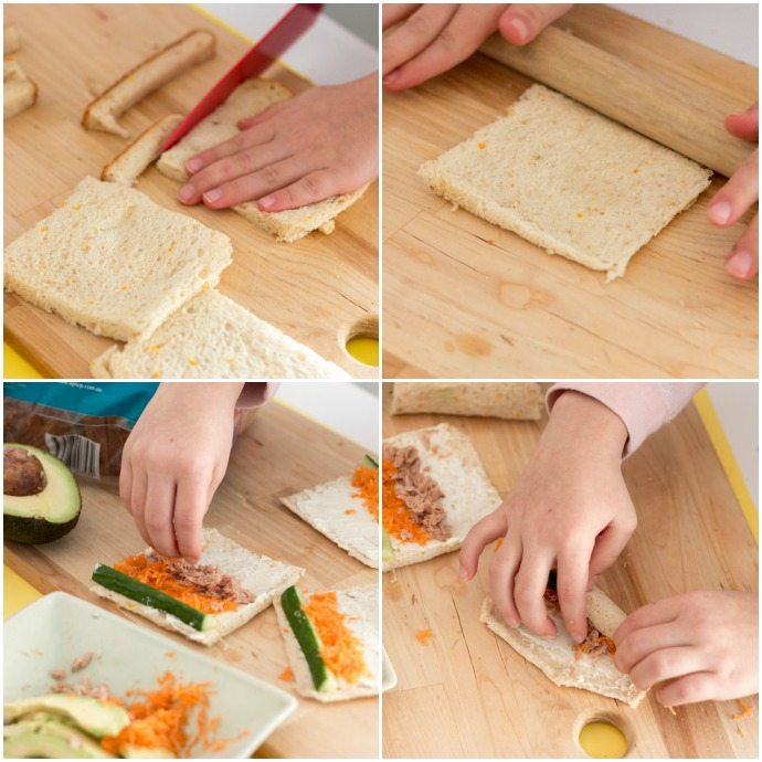 Kids Cooking - Easy lunchbox idea - sushi sandwiches - mypoppet.com.au