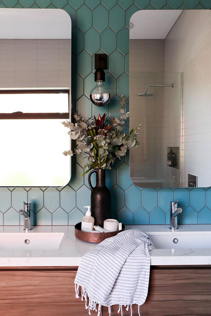 Bathroom vanity with teal tiles - mypoppet.com.au