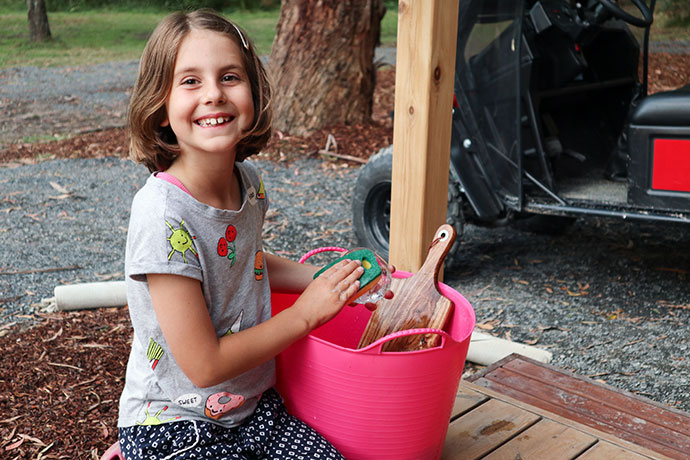 Camping, washing the dishes