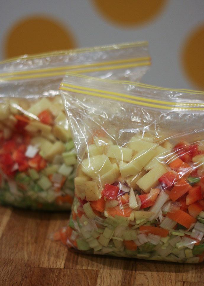Home make Pre-prepared diced vegetables dump meal. mypoppet.com.au