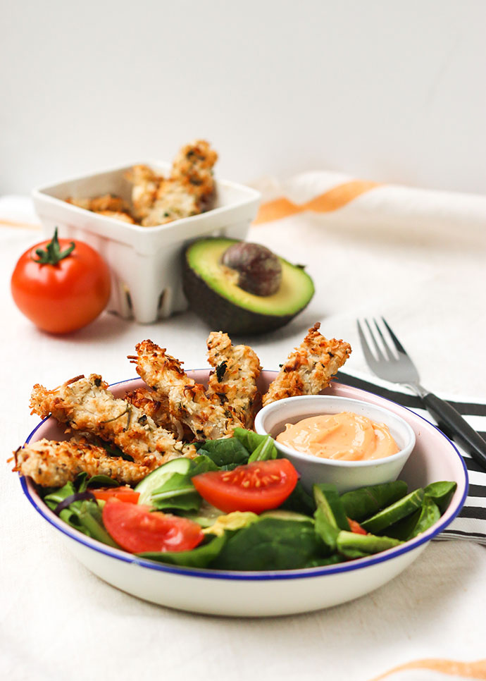 Coconut Chicken Strips with Spicy Mayo Dipping Sauce Recipe - mypoppet.com.au