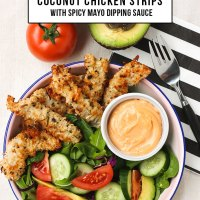 Coconut Chicken Strips with Spicy Mayo