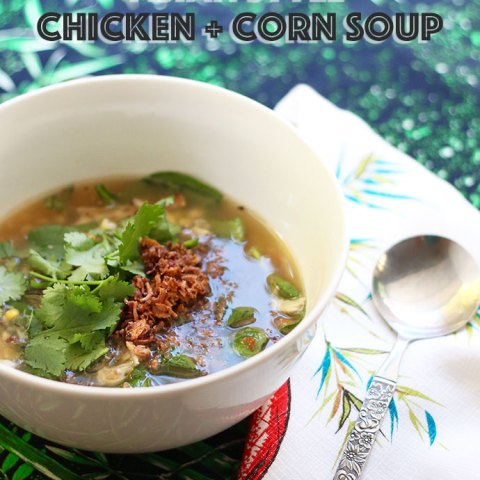 Asian Style Chicken + Corn Soup