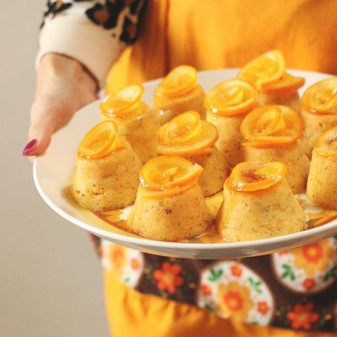 Whole Orange & Almond Mini Cakes with Orange Syrup