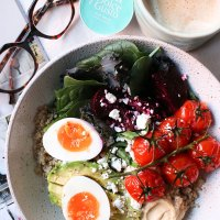 Quinoa Breakfast Bowl with Roasted Tomatoes