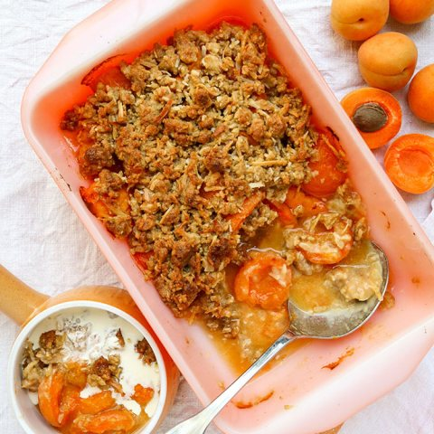 apricot crumble in a dish with fresh apricots