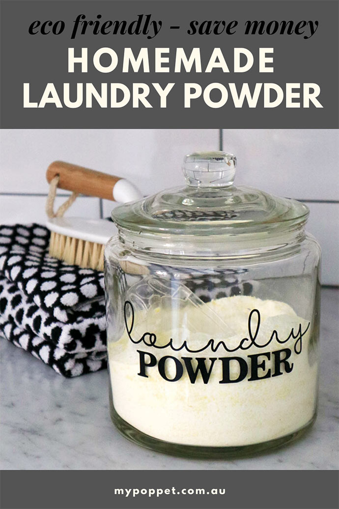 pinterest graphic - homemade washing powder in glass jar