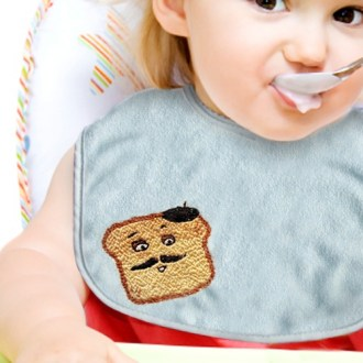 embroidered toast bib