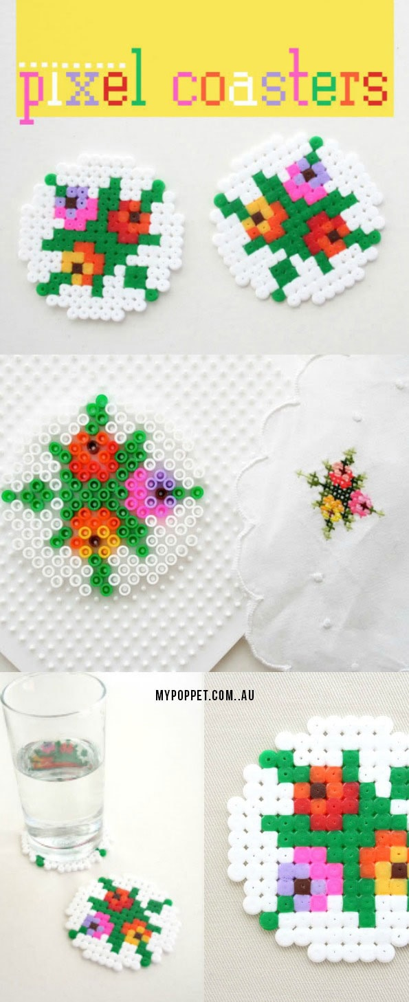 Pixel coasters - Make melt bead patterns from any cross stitch embroidery - mypoppet.com.au  #crossstitch