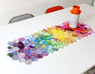 finished table runner hexagon rainbow