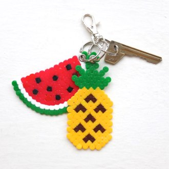 watermelon and pineapple keyring with key chain craft DIY easy