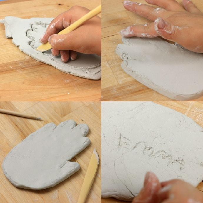 Kids craft: Air Dry clay Mid Century Style ceramic hand dish