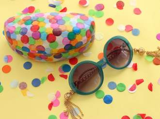 upcycle - makeover - confetti covered sunglasses case