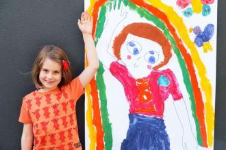 Kids art activity - Life-size self portrait
