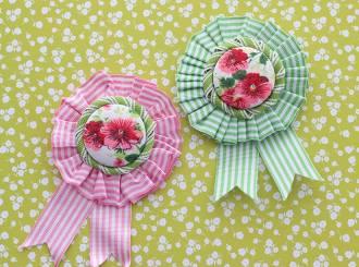 Ribbon Rosette vintage style brooch - spring accessory mypoppet.com.au