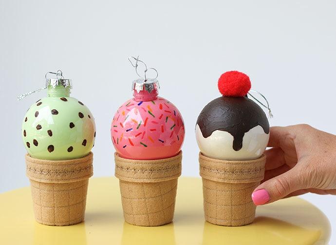 DIY Ice cream cone Christmas Baubles mypoppet.com.au