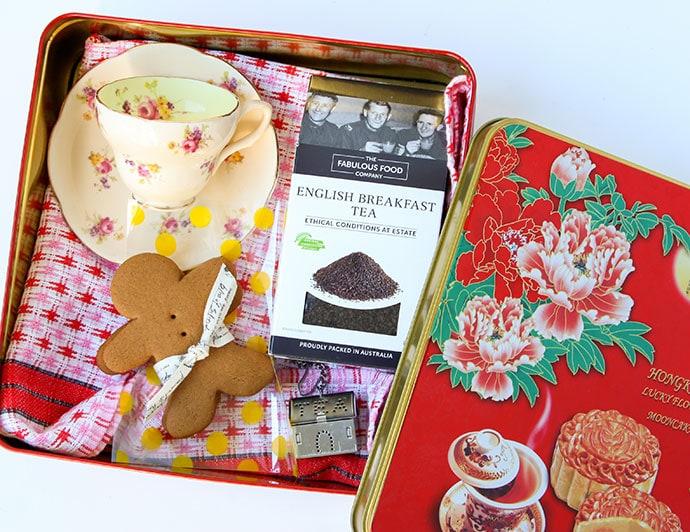 Vintage tea cup gift pack idea mypoppet.com.au
