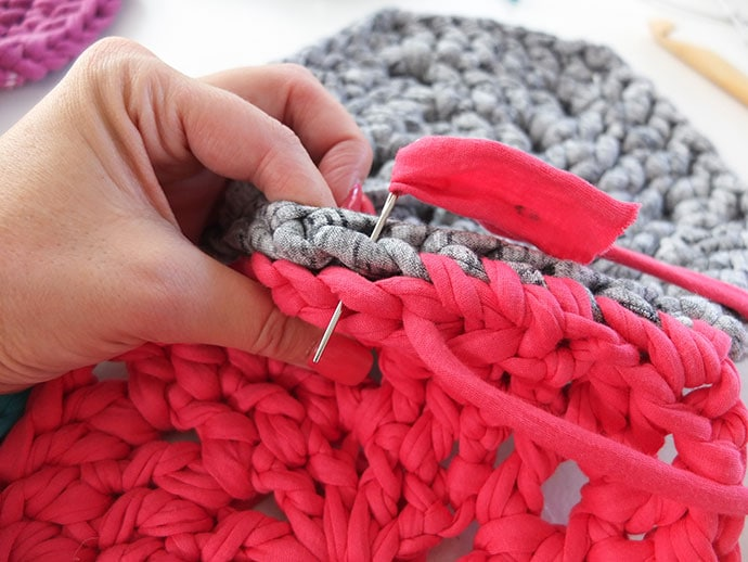 Sew together hexagons with whip stitch.
