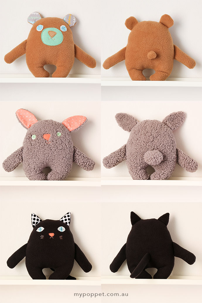 free softie paattern - bear, cat & bunny - mypoppet.com.au