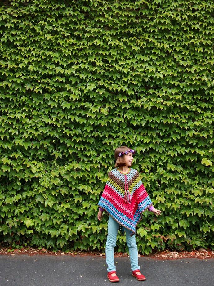 Girls Vintage style crochet poncho pattern - Free - mypoppet.com.au