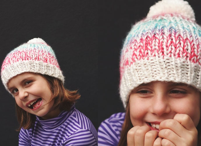 girl wearing knitted hat - free beanie pattern - mypoppet.com.au
