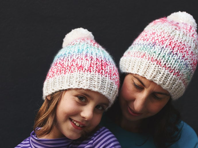 mother and child knitted beanie pattern