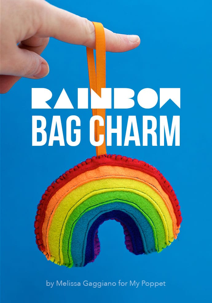 felt craft - Rainbow Bag charm Key Ring mypoppet.com.au