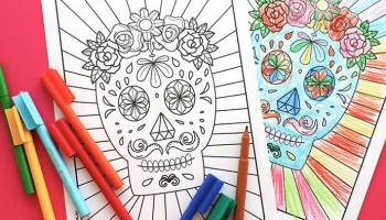 Free Halloween Printable Day Of The Dead Sugar Skull Colouring Page