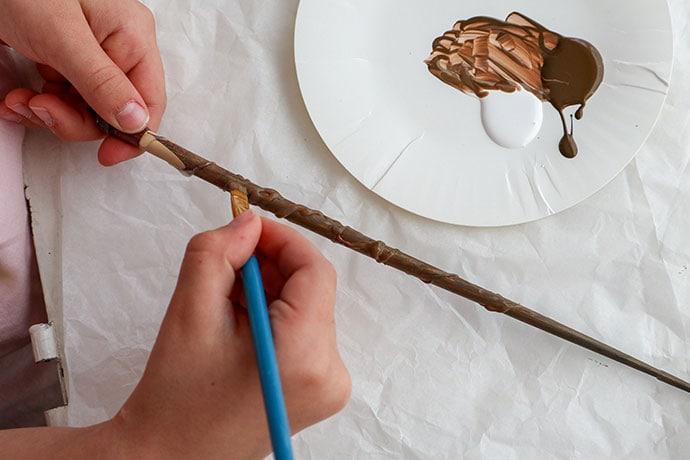 Painting DIY Harry Potter wands - mypoppet.com.au