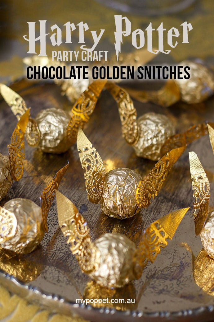 photograph relating to Golden Snitch Wings Printable titled Harry Potter Bash Craft - Chocolate Golden Snitches My