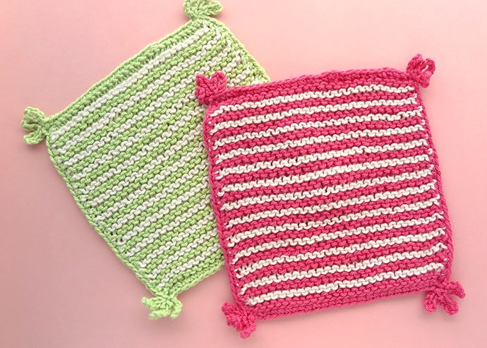 Stripe & Tassel Knitted Washcloth Pattern