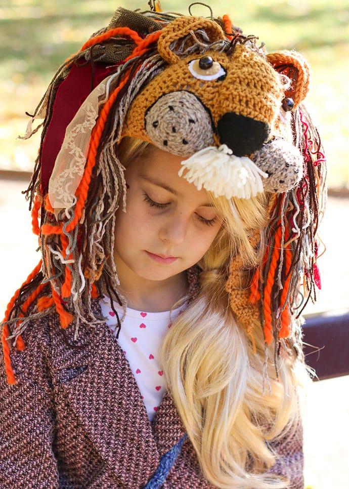Crochet Lion Hat Luna Lovegood costume cosplay DIY - mypoppet.com.au