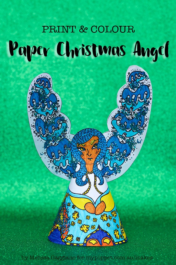 photo relating to Christmas Printable Paper titled Printable Paper Angel Xmas Decoration My Poppet Would make