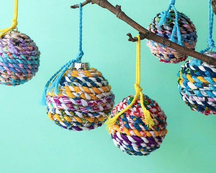 Scrap Fabric Twine Recycled Christmas Ornaments