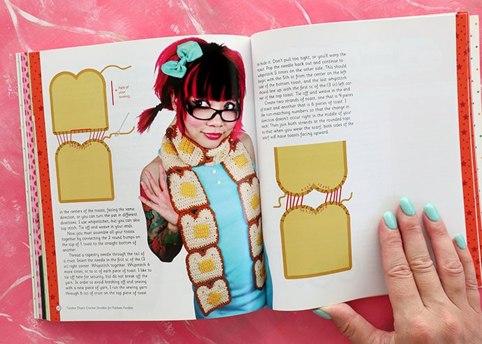 Toast scarf Book Review - Twinkie Chan's Crochet Goodies for fashion foodies craft book - mypoppet.com.au