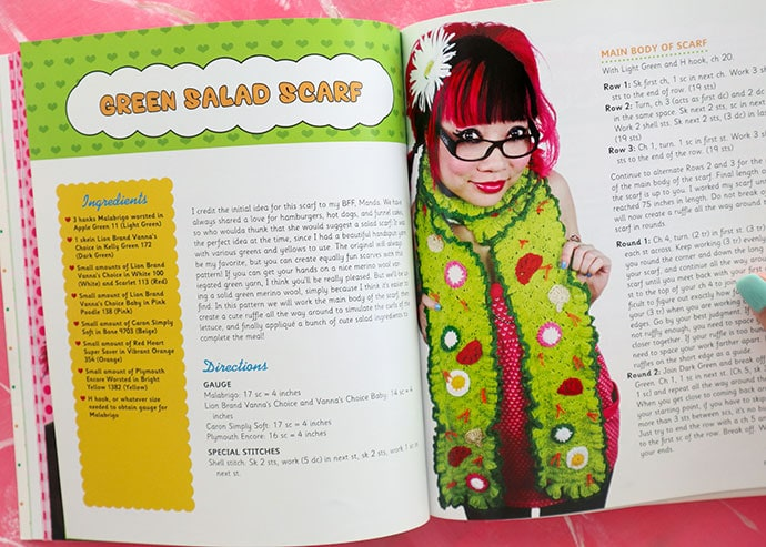 Salad Scarf Book Review - Twinkie Chan's Crochet Goodies for fashion foodies craft book - mypoppet.com.au