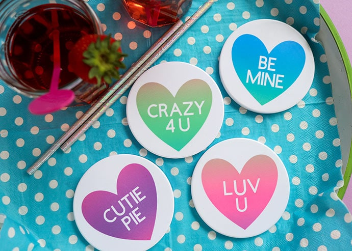 Conversation Heart Infusible Ink Coasters