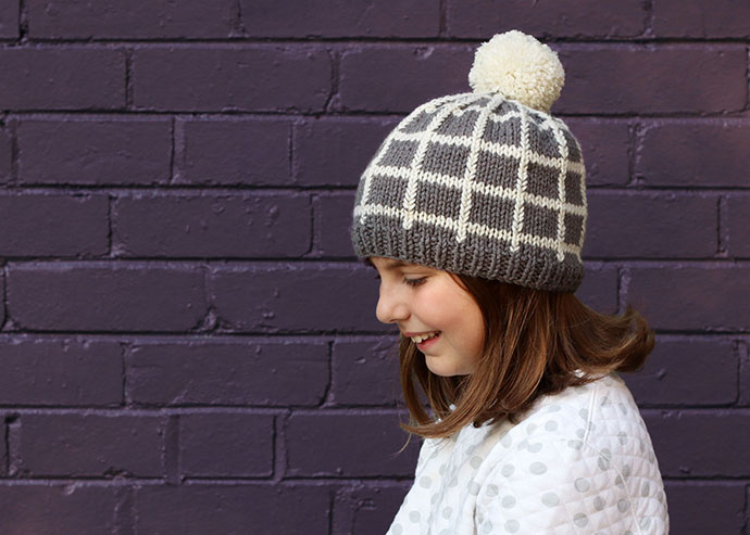 Grid Beanie Knitting Pattern – A cool Hat to keep you Warm!