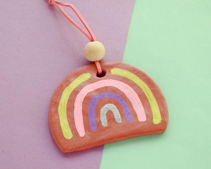 DIY Terracotta Clay Rainbow Ornament
