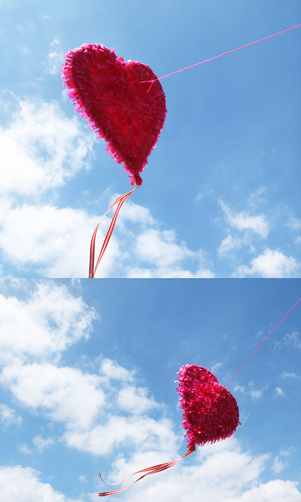 heart shaped kite flying in sky valentines day love is in the air