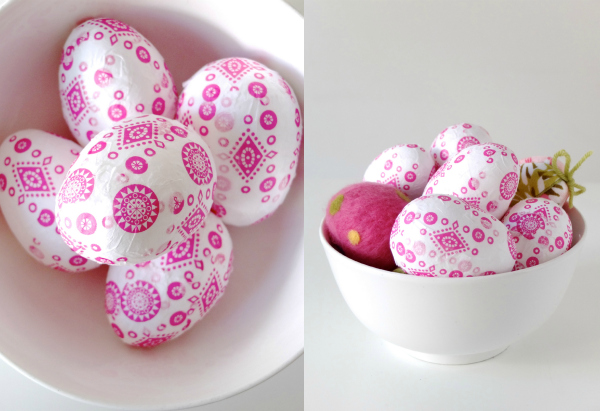 Pink Decorated Easter eggs in a white bowl
