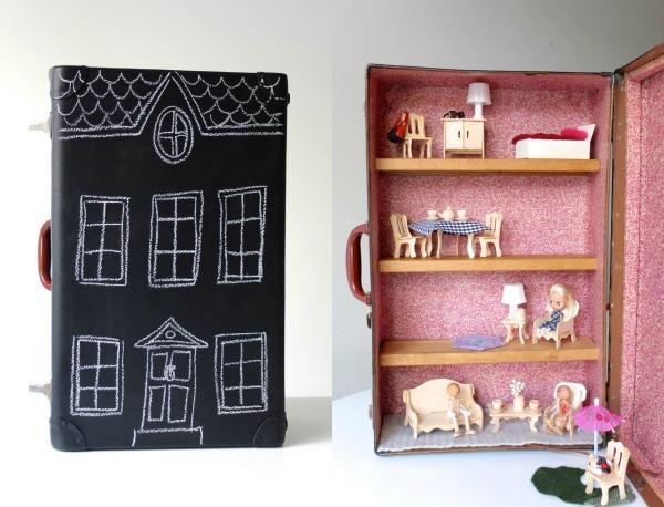 Finished suitcase dollhouse