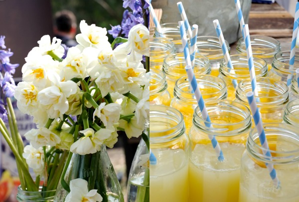 flowers and juice with striped straws