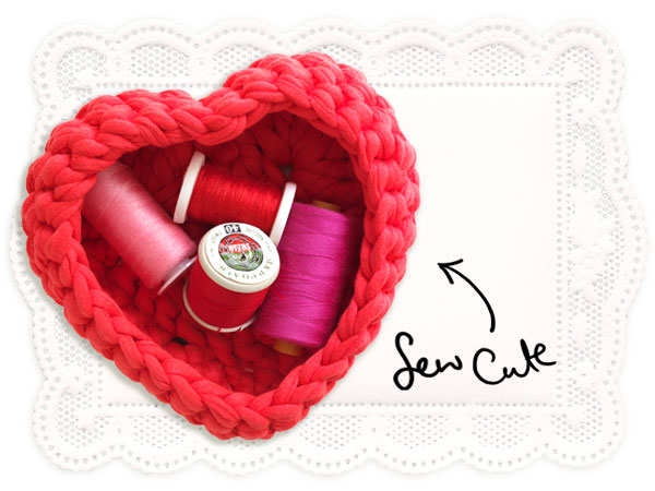 red heart basket with thread - storage solution for bits and pieces