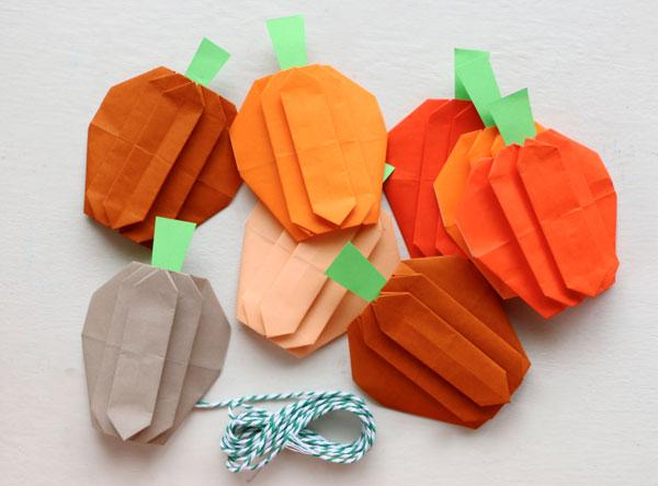 origami pumpkin garland supplies