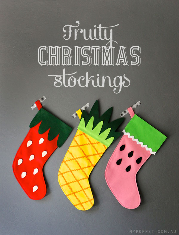 graphic about Free Printable Christmas Stocking Pattern identified as Do it yourself Fruity Xmas Stockings with Absolutely free Practice My Poppet