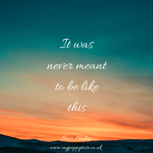 Quote: It was never meant to be like this.
