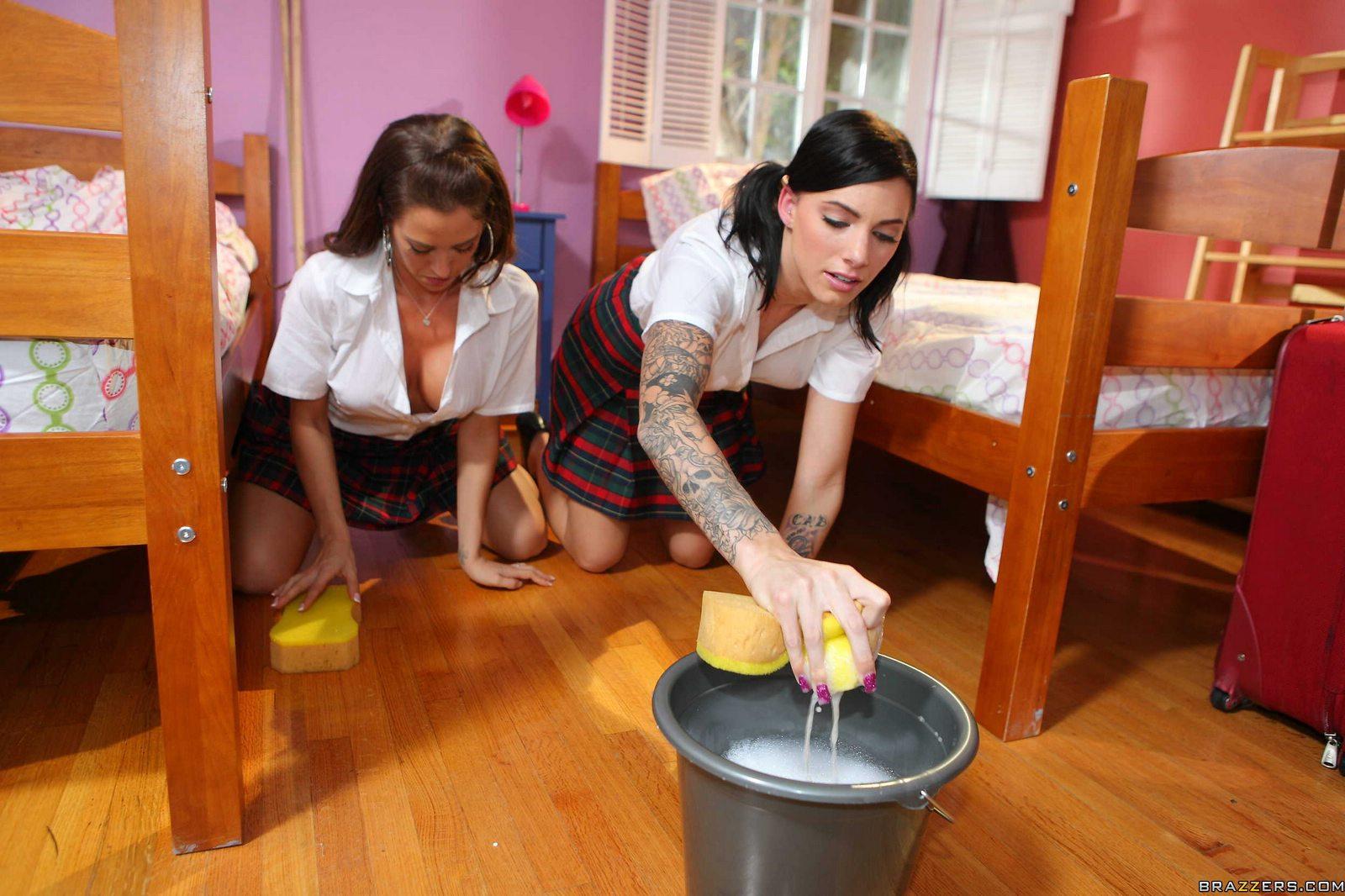 Miss Taylor Wane punishing and fucking two schoolgirls.